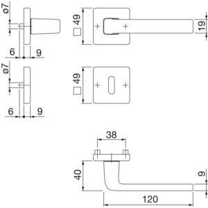 Garnitura kvaka DUBLIN s rozetom, pravokutna, BB, 39 - 47, alu. srebrno elok.