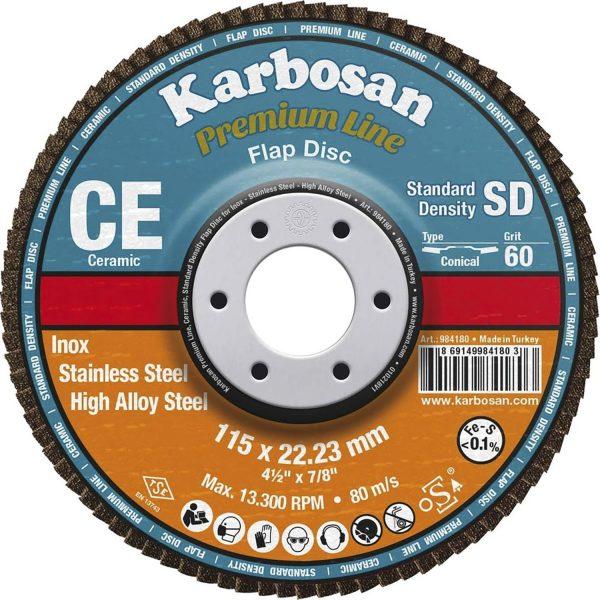KARBOSAN brusna lamelna ploča ravna premium line keramika ø 115 mm gran.60