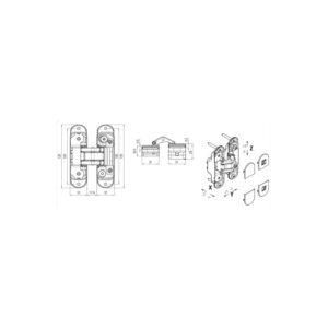 Spojnica za vrata Atomika K8000 CS, univerzalna, zamak krom mat