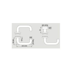 DORMAKABA garnitura kvaka Pure - 8100 s rozetom, PZ trn 8mm, nehr.čelik mat