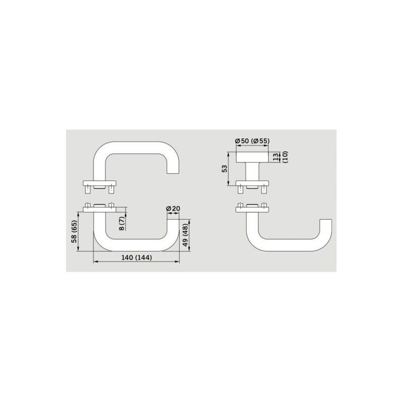 DORMAKABA garnitura kvaka Pure - 8100 s rozetom, BB trn 8mm, nehr.čelik mat