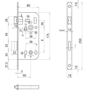 Ukopna brava SOLIDO 340 WC, ključ.mj. 50, trn 8,0, čelik srebrno pocinčani