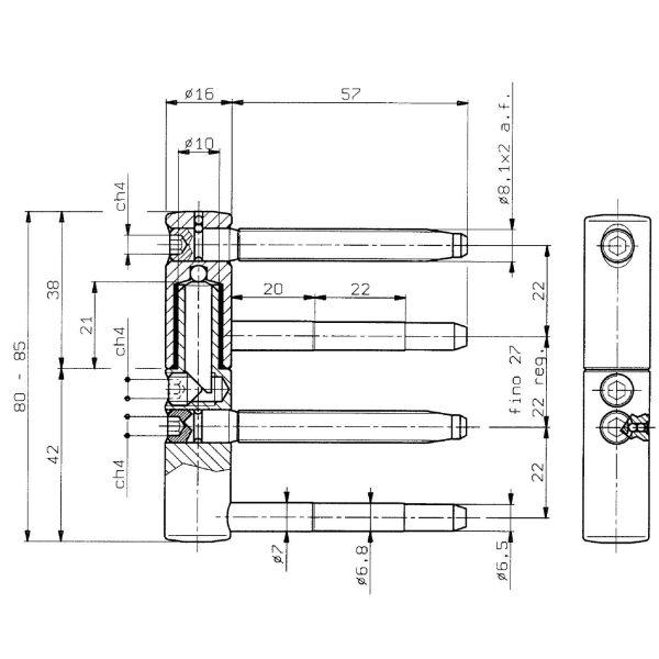 Spojnica za drvena vrata SOLIDO 3-DIM, 2-dij., 16 mm, poc. čelik