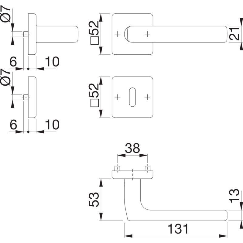 Garnitura kvaka DALLAS sa rozetom, BB, 37 - 42, nehrđajući čelik mat