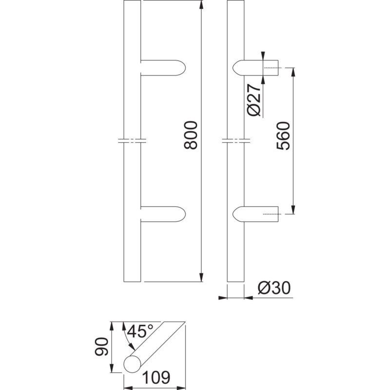 HOPPE rukohvat E5012 - 400mm, razmak rupa 300 mm, D 30mm, neh.čel. mat