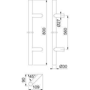 HOPPE rukohvat E5012 - 400 mm, razmak rupa 300 mm, promjer 30 mm