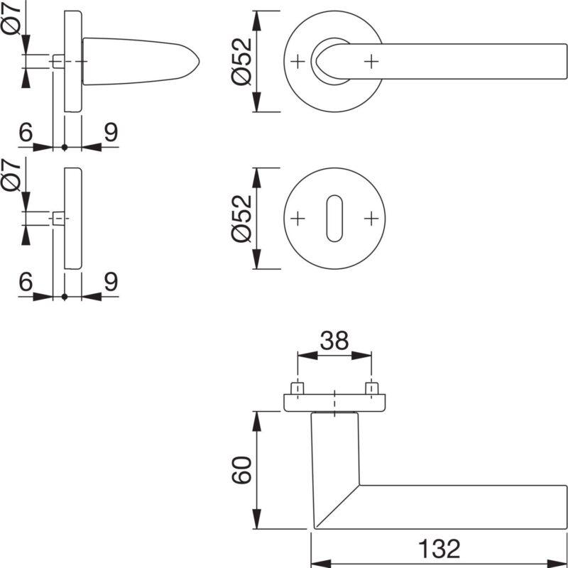 Garnitura kvaka STOCKHOLM sa rozetom, BB, 37 - 47, srebrno eloksirano