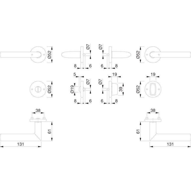 Garnitura kvaka STOCKHOLM sa rozetom, WC, 37 - 42, srebrno eloksirano