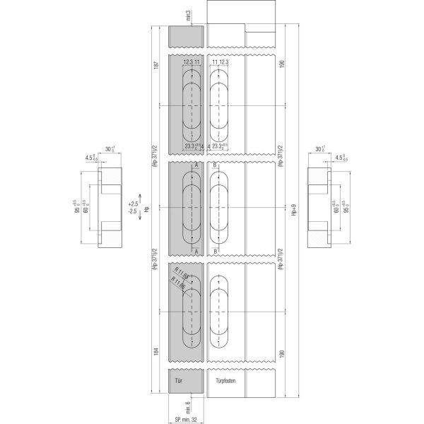 Spojnica za vrata K6200, univerzalna, zamak, poniklano mat