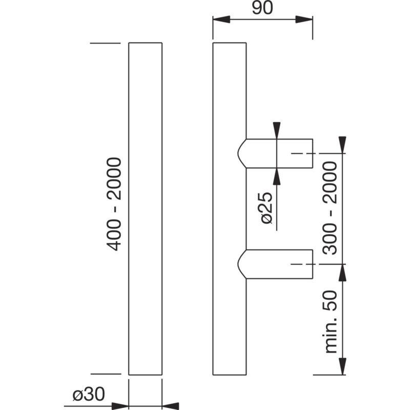 MARCHESI rukohvat 4800 - ravni, 400mm, razm. rupa 300mm, M8, nehrđ. čel. mat