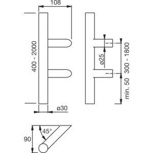 MARCHESI rukohvat 4810 - kosi, 1500mm, raz. rupa 1300mm, ø 30mm, nehr.čelik mat