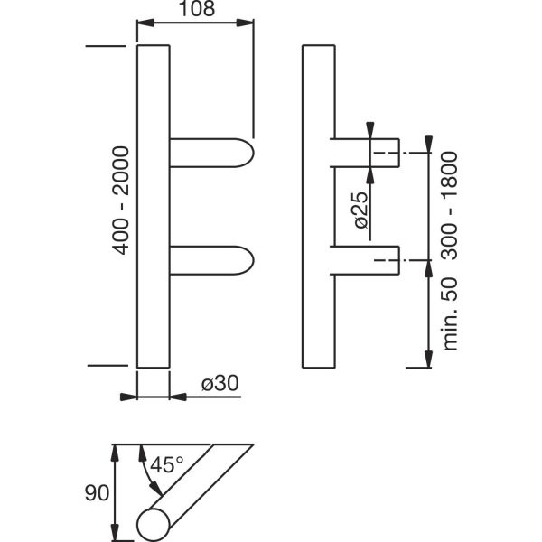 MARCHESI rukohvat 4810 - kosi, 400mm, raz. rupa 300mm, M8, nehrđ. čel. mat