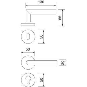 MARCHESI garnitura kvaka GEHRUNG s rozetom, WC, 38 - 45, nehrđajući čelik mat