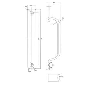 Rukohvat za klizna vrata - 205 mm, aluminij srebrno eloksirani