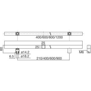 MARCHESI rukohvat QUADRA 4820 - 600mm, razm. rupa 400mm, 25 x 25mm, nehrđ. čel.