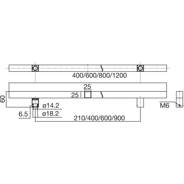 MARCHESI rukohvat QUADRA 4820 - 1200mm, razm. rupa 900mm, 25 x 25mm, nehrđ. čel.