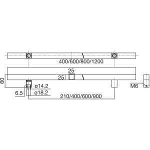MARCHESI rukohvat QUADRA 4820 - 800mm, razm. rupa 600mm, 25 x 25mm, nehrđ. čel.