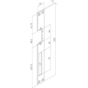 Prihvatnik za O & C otvarače i zatvarače vrata,dugi,250x25x3 mm, nehrđ. čelik