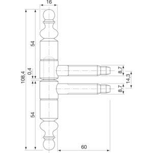 Stilska spojnica dvodjelna ø 16 mm, V 108,5 mm, čelik bronč.patin.