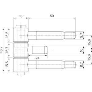 Za čelični dovratnik 3-dij. za drvena vrata, vel. 16 x 46,7 mm, pocin. čelik