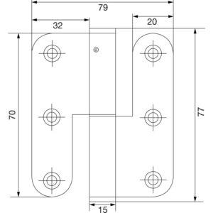 Spojnica za pričv. vijcima, tupa, 70 mm, desno, poc. čelik