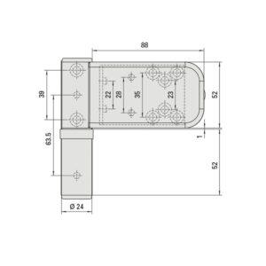 SIKU 3D K3230 spojnica za vrata, visina 105 mm, sa sigurnosnim trnom, bijela