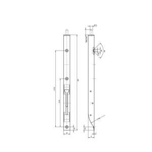 Zasun za vrata, U-kuć. s preklopnom ručkom 400 x 18 x 17 mm