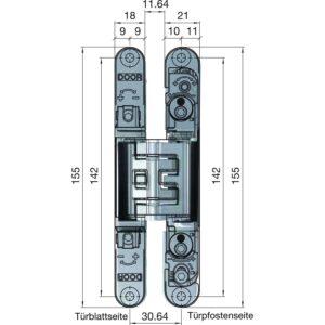 Spojnica za vrata K2400, 155 x 18/21 x 10 mm, zamak, mat kromirana