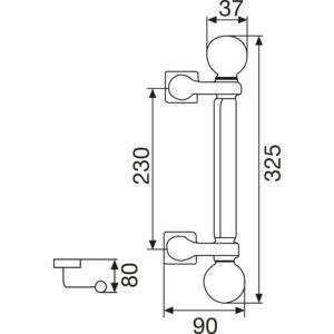 Rukohvat PORTAL - ravni s kuglom, 325mm, LA. 230mm, ø 22mm, mes. PVD