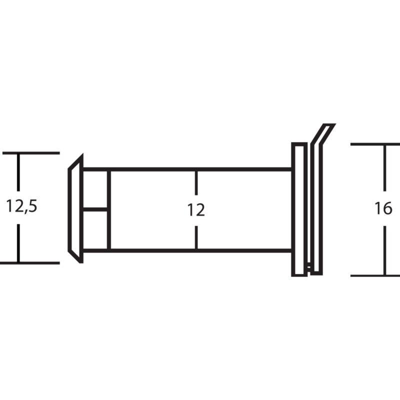 Zurilo ø 12 mm, širokokutna 150°, debljina vrata 35 – 85 mm, mesing kromirani
