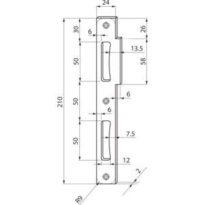 Prihvatnik za dvokrilna vrata, ravan, 210 x 24 x 2 mm, poc. čelik srebrni