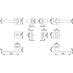 Garnitura kvaka DUBLIN s rozetom, pravokutna, WC, 37 - 42, alu. srebrno elok.