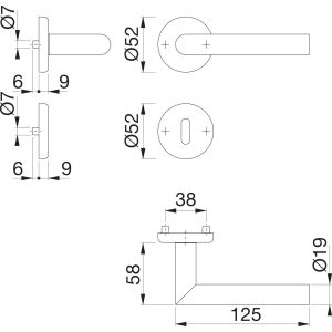 Garnitura kvaka UTRECHT sa rozetom, BB, 39 - 47, nehrđajući čelik mat