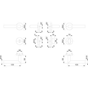 Garnitura kvaka UTRECHT sa rozetom, WC, 39 - 46, nehrđajući čelik mat