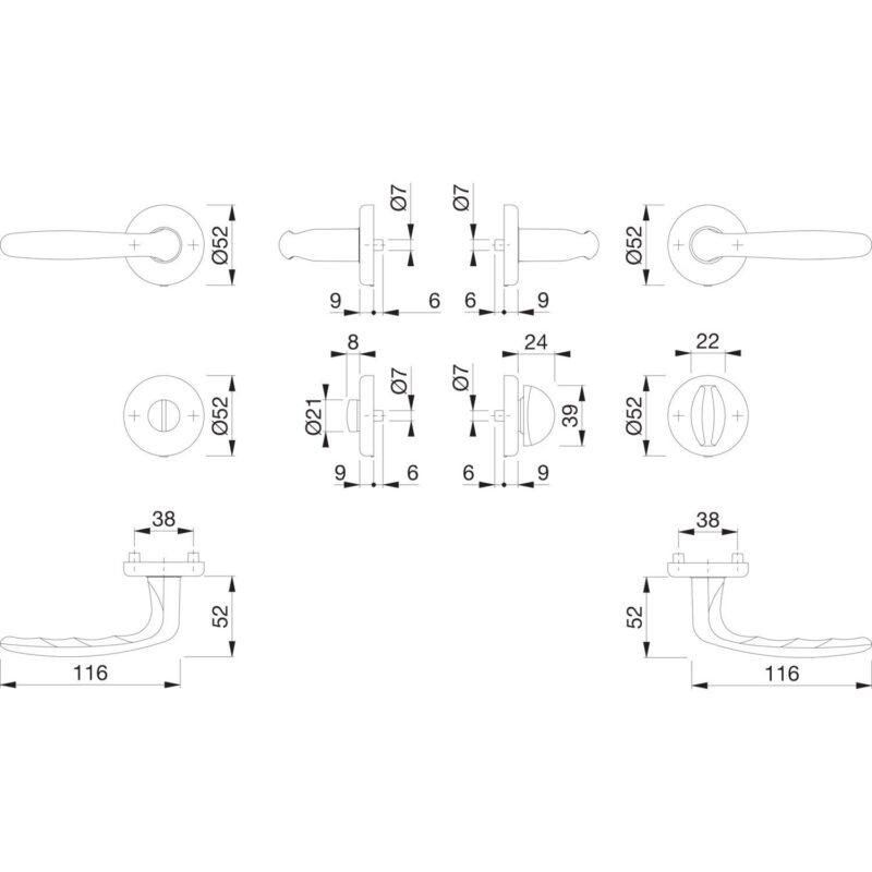 Garnitura kvaka ROISSY sa štitom, WC, 39 - 44, mesing polirani