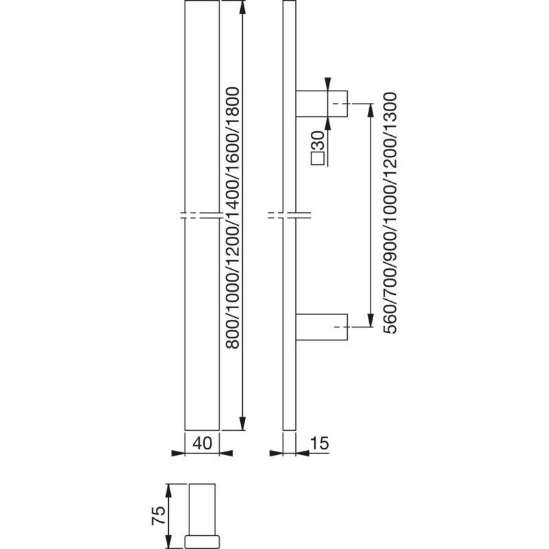 HOPPE rukohvat E5726 - pravokutni ravni, 1400/1000, nehrđajući čelik mat