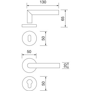 Kvake za vrata GEHRUNG sa rozetom, WC, 38 - 45, MARCHESI