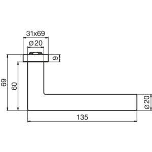 Kvaka za vrata PREMIUM 8906 - bez rozete, 20 mm, DORMAKABA