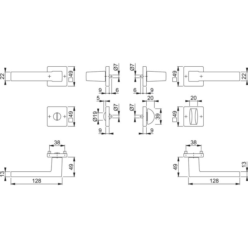 DV005 skiz HOPPE Drueckergarnitur Austin auf Rosette WC 0
