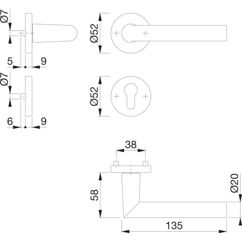 DV005 skiz Hoppe Drueckergarnitur Amsterdam Rosette Alu PZ 0 1
