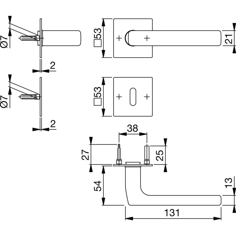 DV005 skiz Hoppe Drueckergarnitur Modell Dallas mit Flachrosette BB Edelstahl 0