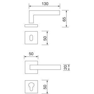Kvake za vrata KIEL sa rozetom, WC, 38 - 45, MARCHESI