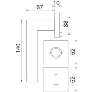 Kvake za vrata MALMÖ sa rozetom, WC, 38 - 45, SOLIDO