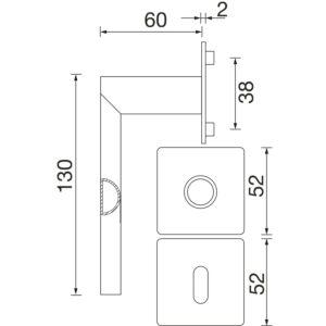Kvake za vrata DOVER sa plitkom rozetom, WC, SOLIDO