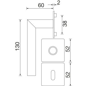 Kvake za vrata NORWEGEN sa plitkom rozetom, WC, SOLIDO