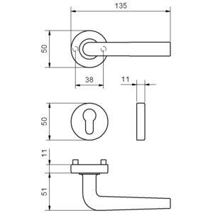 Kvake za vrata AC 2 Novant./H327 - na rozeti PZ, 32-45, Valli&Valli
