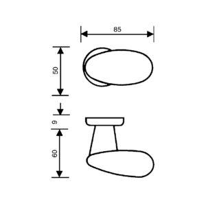 Kugla za vrata na rozeti, ovalna ø 80 mm, fiksna, desna, VALLI&VALLI