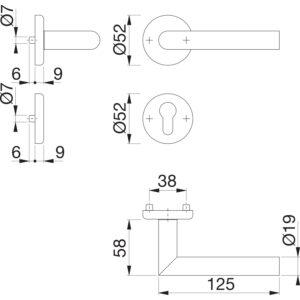 Kvake za vrata UTRECHT s rozetom, PZ, 39 - 47, HOPPE