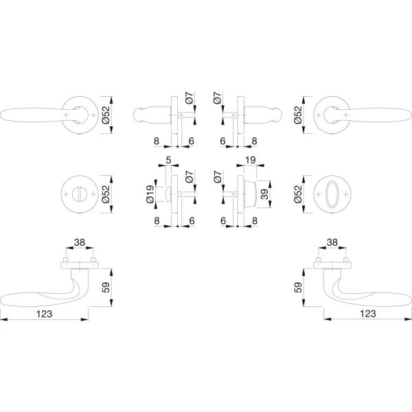 DV005 skiz hoppe drueckergarnitur verona wc auf Rosette 0